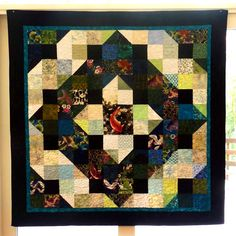 Patchwork Quilt, Fish Scrap Quilt, Handmade Lap Quilts, Large, Exciting, Blues, Greens, Black, Geometric Quilts, Beautiful Gift. $395.00, via Etsy.