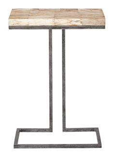 358-103 Bradford Side Table | Bernhardt W 17 D 10.5 H 24 Petrified Wood Stone Top $775 #1Foot Rectangle