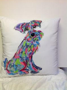 Hand Painted Pillow - Schnauzer by Debby Carman Faux Paw Productions