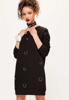 Missguided - black metal ring detail sweater dress