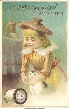 Clark's Cotton: Girl with cat :: Victorian Trade Cards