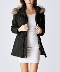 Glamsia Black Faux Fur-Hood Inner Drawstring Jacket | zulily  . $24.99 Compare at $59.00  . 	 size: size chart	. S . M . L . XL .  Product Description:  Boasting a soft faux fur-lined hood and an easily adjustable drawstring waist along the inside, this jacket offers loads of snug-fit warmth and style.      100% cotton     Hand wash; dry flat     Imported