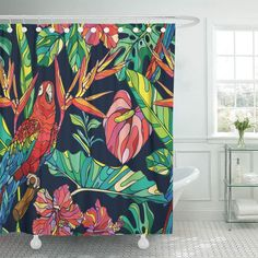 Tropical Shower Curtains, Colorful Shower Curtain, Tropical Bathroom, Bathroom Shower Curtains, Relaxing Bathroom, Tropical Colors, Tropical Pattern, Tropical Decor, Bathroom Styling