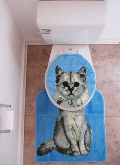 Kitty cat toilet seat cover with rug.