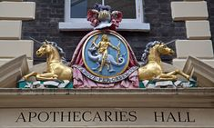 Unicorns in London. The Worshipful company of Apothecaries.Coat of arms bearing two golden unicorns. Pharmacies in London sold powdered unicorn horn as late as
