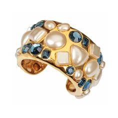 CHANEL Pearl and Jeweled Cuff Bracelet | 1stdibs.com