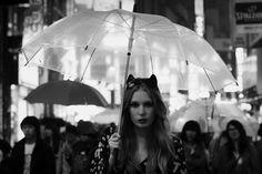 Tokyo rain, model, clear umbrella