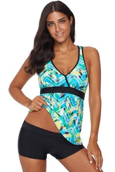 05191ddee5 Green Printed Tankini Top Solid Boyshort Swimsuit Wholesale Online