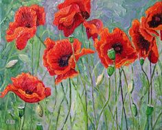 Audra's Oil Paintings: Red Poppies