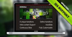 DDSlider introduces a new easy-to-go slider with 9 different unique transitions (+fading & random—11 total) that support Inline Content. You can also have multiple sliders in the same page.