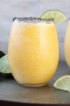 Frozen Peach Margaritas Recipe ~ the perfect slushie cocktail for any party or get together with friends and family