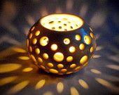 Stoneware Luminary, Candle Holder, Votive, Elegant Home Decor, White, Wedding Decoration, Handmade Pottery