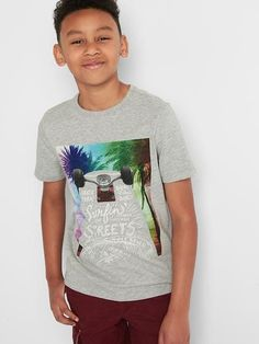 Gap Boys Graphic Short Sleeve Slub Tee Gray