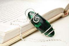 Elegant Morenci Chatoyant Malachite Sterling Silver Wire Wrapped Pendant , includes 18in Sterling Silver Necklace!!!