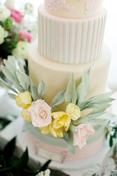 soft ivory princess cake with mint stripes decorated in pink lace and sugar roses for a custom birthday dessert table Bohemian Wedding Inspiration, Boho Wedding, Dream Wedding, Types Of Wedding Cakes, Dessert Table Birthday, Pastel Cakes, Cake Decorating, Decorating Ideas, Decor Ideas