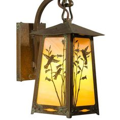 "America's Finest Lighting Company Baldwin 1 Light Outdoor Wall Lantern Size: 18"" H x 9.5"" W x 12.5"" D, Shade Finish: Gold Iridescent, Finish: Textu..."