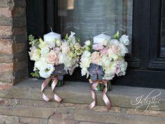 pastel candles flower design / lumanari nunta design Idyllic Events