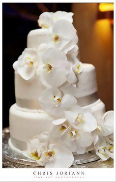 Three tier orchid cake