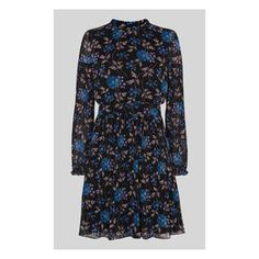 Elderberry Print Dobby Dress, in Black/Multi on Whistles Funnel Neck, Dobby, Fit And Flare, High Neck Dress, Long Sleeve, Prints, Sleeves, Whistles, How To Wear