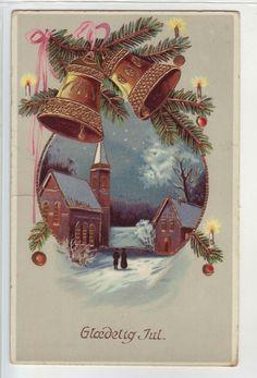Glædelig jul- (med glitter) brukt 1918. Utg M.S. B.