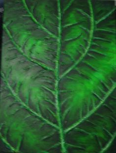 """Green Leaf"" Original Textured Acrylic Painting on Canvas by Michelle Durell / Durell Studio"
