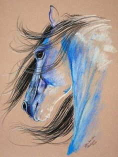 how to draw comics Horse Drawings, Animal Drawings, Art Drawings, Art Sketches, Arte Equina, Pastel Art, Pastel Blue, Equine Art, Horse Pictures