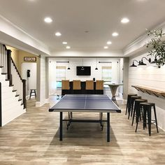 After a weekend of teenage boys living in this basement, it's finally cleaned up. After a weekend of teenage boys living in this basement, it's finally cleaned up! Small Basements, Basement Bar, Basement Remodeling, House, Basement Games, Home, Game Room Basement, Basement Decor, Modern Basement