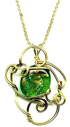 Brass Wire Wrapped Dichroic Glass Pendant Necklace 18 Inches Handmade Green Gold Orange Ww534 Moon Pixie