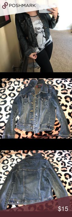 Dark washed denim jacket Dark washed jean jacket. Fits extremely well and easy to pair with any outfit and very stylish. In very good condition. Pick up this cute jean jacket today, you won't regret it. Jackets & Coats Jean Jackets
