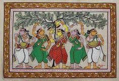 Patachitra painting - Dancing Gopies | NOVICA