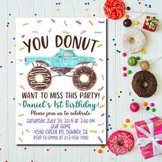 Donut Birthday Invitation Car Donut Donut Birthday