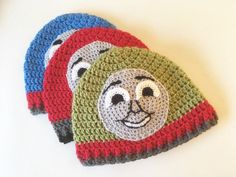 Crochet Pattern Hats Free crochet pattern for Thomas Henry and James tank engine / train hats. Toddler size 1 to 3 yrs Crochet Toddler, Crochet Kids Hats, Crochet Beanie, Diy Crochet, Crochet Clothes, Crochet Children, Knitted Hats, Baby Hat Patterns, Baby Knitting Patterns