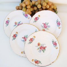 Vintage #Scio Pottery #Hazel China Dessert #Plates Roses Salad Plates Set of 4 1940s Dinnerware by WhimzyThyme on Etsy