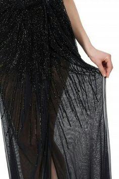 Elisabetta Franchi 2017 Abito lungo in tulle ricamato color black - particolare