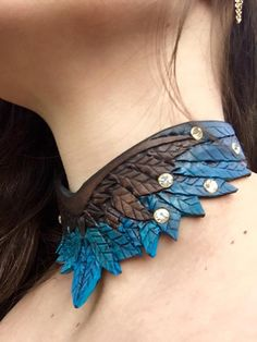 Wing Choker Hand Tooled Leather Necklace by FinelyTooled on Etsy