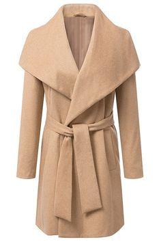 Solid Color Belt Long Sleeve Coat CAMEL: Jackets & Coats | ZAFUL