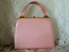 Vintage  Pink Patent Kelly Handbag  Purse by PursonalBaggage2, $56.00