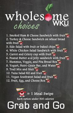Wholesome Choices at Grab and Go stations // Located in P.O.D. Market, Pit Stop, and Java City