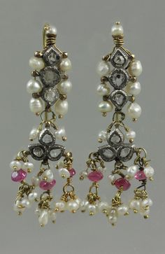 Royalty & their Jewelry - diamond and pearl set earrings from Jaipur of a Maharani