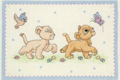 Anchor Disney Lion King Cubs DPST013 Counted Cross Stitch Kit | eBay