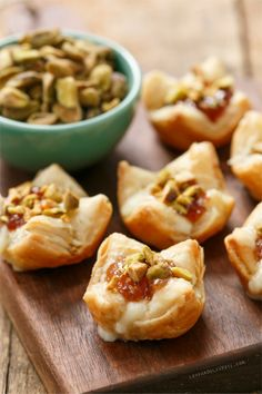 Baked Brie Puffs with Fruit Preserves and Pistachios#Valentine's Day