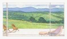 BCJ | Skylark Pencil Test, Conceptual Architecture, Skylark, Blue Ridge Mountains, Conservation, Landscape, Drawings, Painting, Architectural Presentation