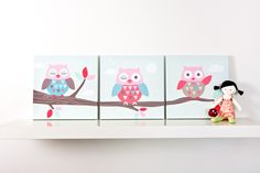 A cute owl canvas trio for a little girls room.
