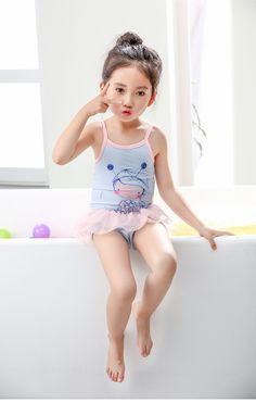 YYA Little Girls Baby Girls One-Piece Swimsuit Cute Bee Skirt Swimsuit