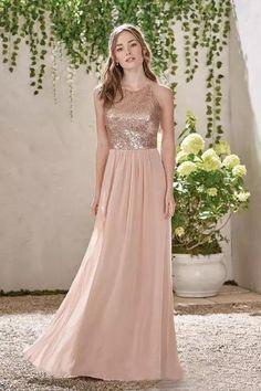 6a4662e811568 Rose Gold A Line Spaghetti Backless Bridesmaid Dresses,Sequins Chiffon  Cheap Beach Wedding Gust Dress