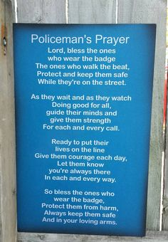Policeman's Prayer Wood Sign or Print or canvas by HeartlandSigns