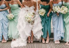 MIX & MATCH bridesmaids dresses! To create this look, simply choose a color palette hosting varying shades; the bridesmaids can choose from these different hues! #2013 #Wedding #Trend
