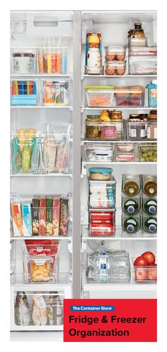 Simple storage for fridges, pantries, and cabinets of every size. Freezer Organization, Refrigerator Organization, Home Organisation, Refrigerator Freezer, Kitchen Organization, Organization Hacks, Organized Fridge, Fridge Organisers, Fridge Storage