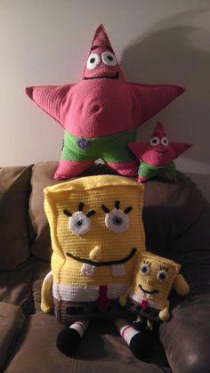 Spongebob Squarepants or Patrick Star pillow friends on etsy