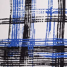 Black/Blue/White Plaid Light-Weight Ponte Knit Fabric by the Yard | Mood Fabrics